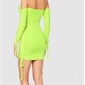 Ruched neon dress, s/m
